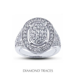 1 1/2ct E Vs2 Round Natural Certified Diamonds 950 Plat. Halo Right Hand Ring
