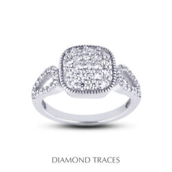 1 1/2 Ctw E Vs1 Round Cut Natural Certified Diamonds 950 Plat. Right Hand Ring