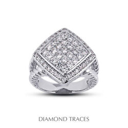 1 Ctw E Vs1 Round Cut Earth Mined Certified Diamonds 950 Plat. Right Hand Ring