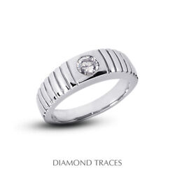 3/4 Carat F Vvs2 Round Cut Earth Mined Certified Diamond 14k Gold Menand039s Ring