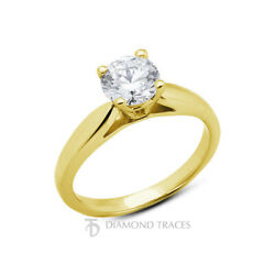 0.68ct F-si1 Round Natural Certified Diamond 14k Gold Solitaire Engagement Ring