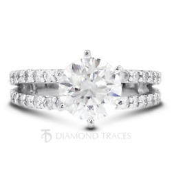 1 1/2ct F Vs2 Round Cut Earth Mined Certified Diamonds 950 Plat. Side Stone Ring