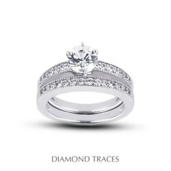 0.97ct H-si1 Round Natural Diamonds 18k Vintage Style Ring With Wedding Band