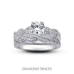 1.18ct I-vs2 Round Natural Diamonds 18k Vintage Style Ring With Wedding Band