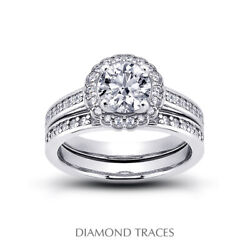 1ct G Vs2 Round Earth Mined Certified Diamonds 18k Halo Ring With Wedding Band