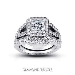 1.79ct D-si2 Princess Natural Diamonds 14k Vintage Style Ring With Wedding Band