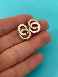 And Co 18k Yellow Gold And Silver Interlocking Dangle Circles Earrings Rare
