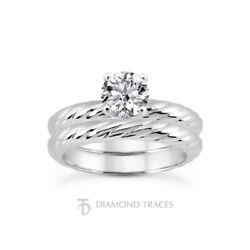 1/2ct G Si1 Round Natural Certified Diamond 14k Classic Ring With Matching Band