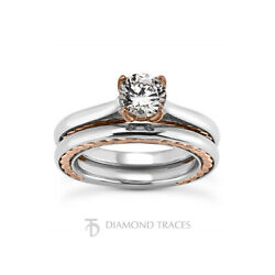 2ct D Si2 Round Earth Mined Certified Diamond 14k Gold Ring With Wedding Band
