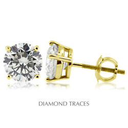 1 Carat D Si2 Round Cut Natural Earth Mined Certified Diamonds 14k Gold Studs