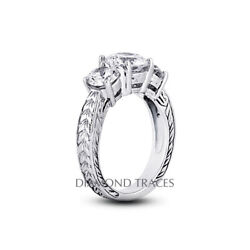 1 1/4ct E Vs2 Round Natural Certified Diamonds 14k Vintage Style 3-stone Ring