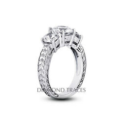1.68ct E-si2 Round Natural Certified Diamonds 14k Vintage Style Engagement Ring