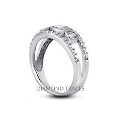 1 1/2ct H Si1 Round Natural Certified Diamonds 18k Vintage Style 3-stone Ring