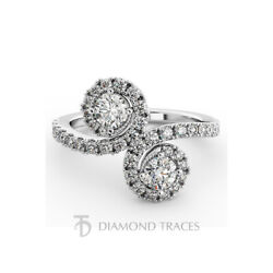 1 3/4ct E Si2 Round Natural Certified Diamonds 950 Plat. Halo Engagement Ring