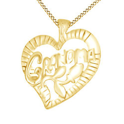 Grandma Charm Pendant Necklace 14k Yellow Gold Over Sterling Silver