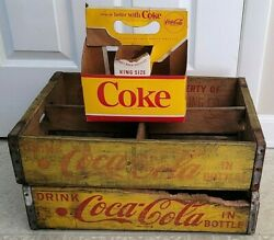 1960's Coca Cola Coke Wooden Crates King Size Yellow 6 Pack Rare 1 Damaged Look