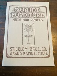 Arts And Crafts Quaint Stickley Brothers Furniture 1981 - Like New