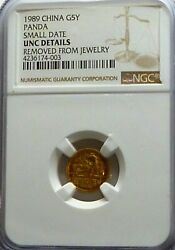 Gold Coin -1989 China Panda Small Date G5y - Ngc Uncirculated Details
