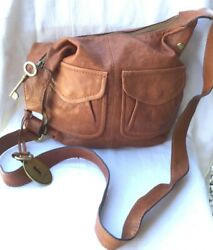 FOSSIL LONG LIVE VINTAGE WOMENS CROSSBODY BAG SOFT BROWN LEATHER HANDBAG $39.99