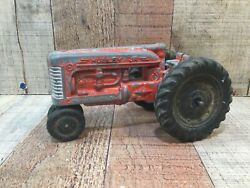 Hubley Jr Diecast Narrow Front Farm Tractor Kiddie Toy Red 7 Long 1960s