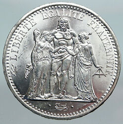 1965 France Large Hercules Motto Vintage Old Silver 10 Francs French Coin I90274