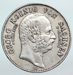 1904e German States Saxony King George Vintage Antique Silver 2 Mark Coin I90211