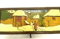 Antique Russian Folk Art Hand Carved And Painted Glove Box With Key