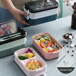 Bento Box Stackable Lunch Boxes With Cutlery Food Storage Snack Packing