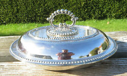 Antique Silver Plated Entree Dish Covered Vegetable Dish Beaded Atkin Brothers