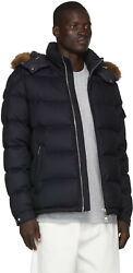 Moncler Men's Allemand Coyote Fur Hooded Down Wool Jacket Navy - Sz M 2 - Nwt
