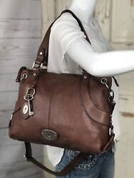 FOSSIL Maddox Brown Leather Large Convertible Satchel Crossbody Shoulder Bag $149.95