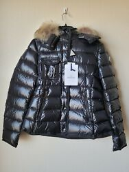 Moncler Women's Armoise Fox Fur Hooded Quilted Down Jacket Black - Sz Xl 5 Nwt