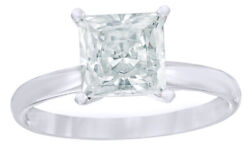 0.50 Ct Princess Cut Natural Diamond Solitaire Engagement Ring In 14k White Gold