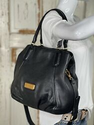 MARC by MARC JACOBS Q Francesca BLACK Pebbled Leather Tote Hobo Handbag Large $169.95
