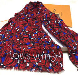Louis Vuitton Stole Scarf Shawl Rose Red Flower Floral Modal Silk Woman Auth New