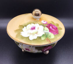 Vintage Lefton China 1870 Hand Painted Roses Lidded Candy Dish Bowl - 3 Footed