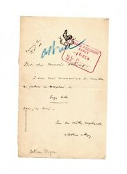 Arthur Meyer Signed 1886 Letter By French Newspaper Publisher To Paul Ollendorff