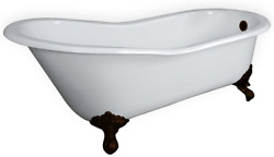 67 Cast Iron Slipper Tub With No Faucet Holes Oil Rubbed Bronze Feet- Clay
