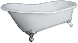 67 Cast Iron Slipper Tub With No Faucet Holes And Chrome Feet- Clay