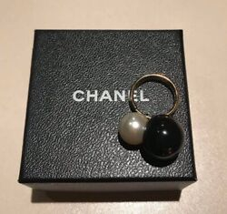 Rare  Double Ring Black Pearl Size 11 For Woman Accessory Very Cute