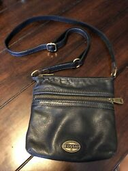 Fossil Explorer Black Leather Crossbody Shoulder Bag Small $34.99