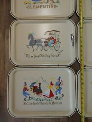 8 Vtg Hand Painted Metal Lap Serving Tray By Clement Teppich Western Song Titles