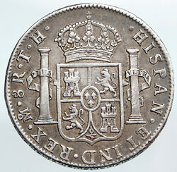 1806 Mexico Spain King Charles Iv Silver Antique 8 Reales Mexican Coin I90330
