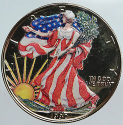 1992 United States Us Walking Liberty Colorized Silver Ounce Medal Coin I90340
