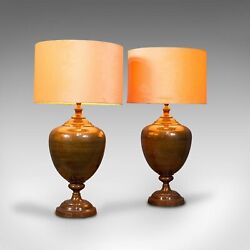 Pair Of, Vintage Table Lamps, English, Brass, Decorative, Side Light, Circa 1940