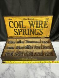 Vintage Standard Motor Products Lot Of Coil Wire Springs In Wooden Box