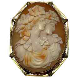 Hand Carved Shell Portrait Cameo Yellow Gold Pin Pendant Estate Fine Jewelry