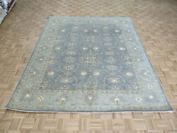 8 X 9and0398 Hand Knotted Silver Blue Oushak Peshawar Oriental Rug G8857