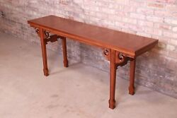 Baker Furniture Hollywood Regency Chinoiserie Walnut And Burl Flip Top Console T