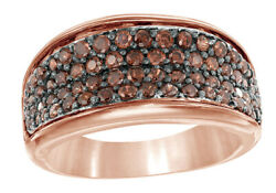 0.87 Ct Round Cut Brown Real Diamond Four Row Engagement Ring In 10k Rose Gold